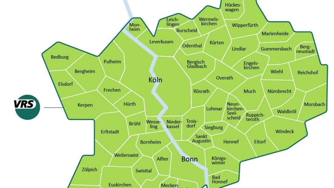 Karte zeigt das Gebiet des VRS Verkehrsverbunds Rhein-Sieg.