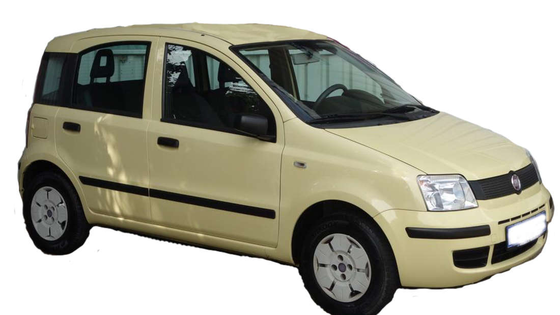 Gelb farbener Fiat Panda Baujahr 2010