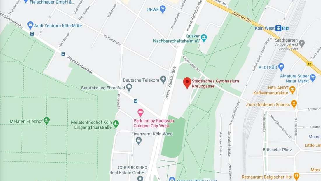 Google Maps-Ausschnitt der Gegend um das Gymnasium Kreuzgasse