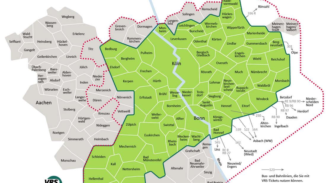 Die Zonen des Verkehrsverbund Rhein-Sieg mit angrenzenden Gebieten