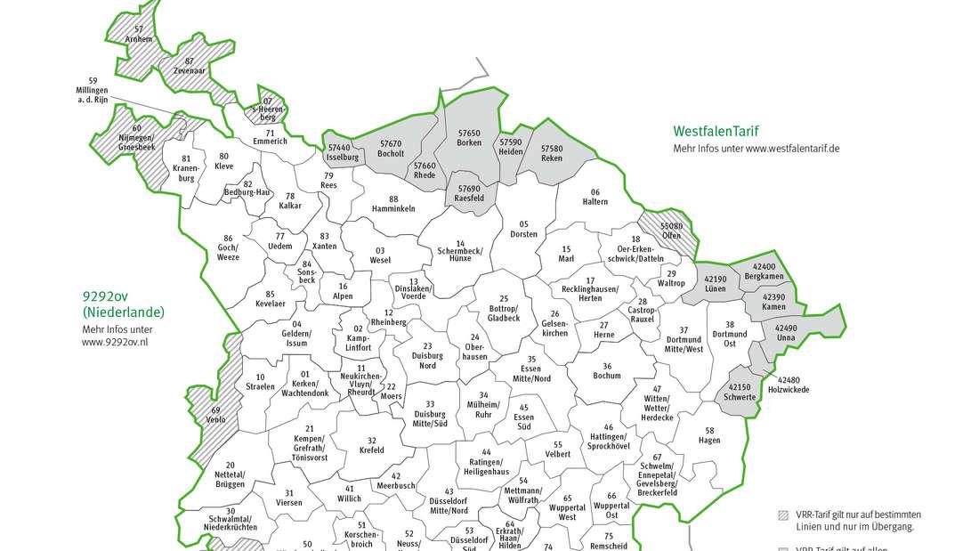 Karte des Verbundgebiets des Verkehrsverbund Rhein-Ruhr (VRR)