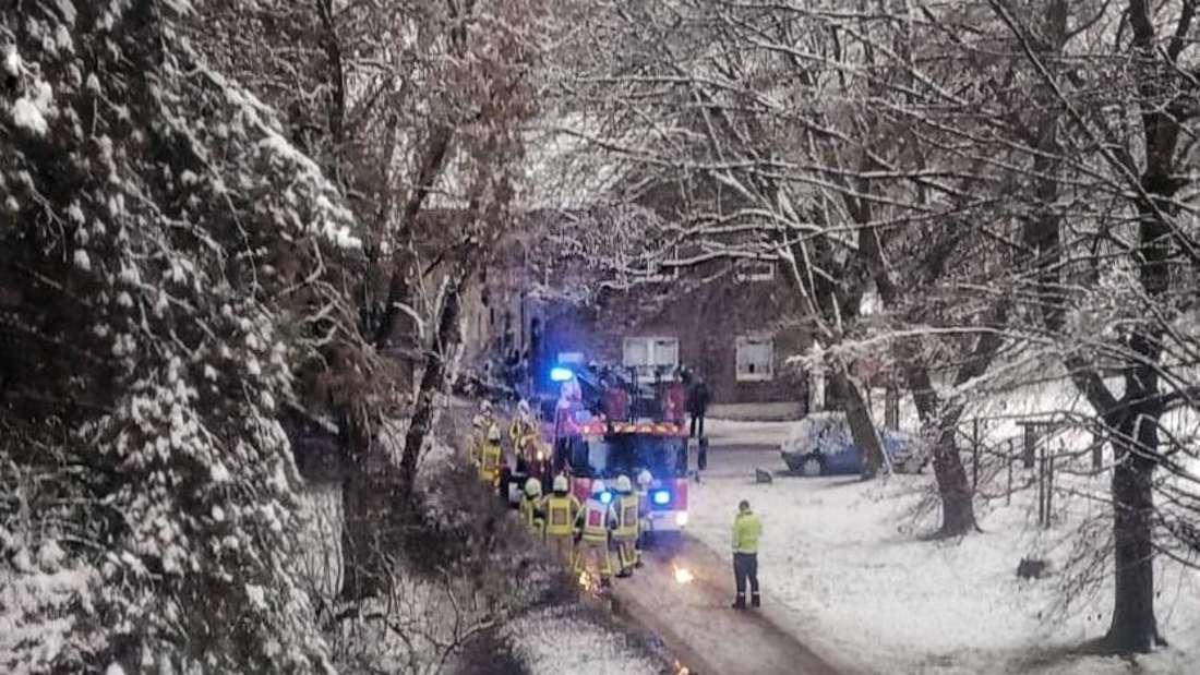 Einsatzkräfte der Feuerwehr Grevenbroich befreien Stromleitungen.