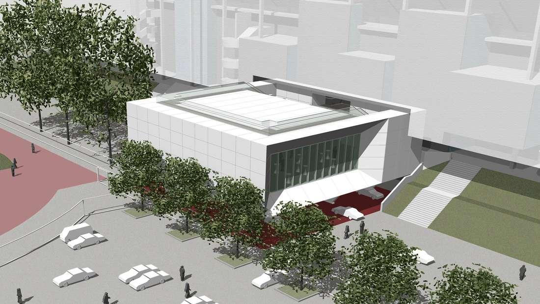 """Ein Konzeptbild des geplanten Neuanbaus des Düsseldorfer Arena """"The Box""""."""