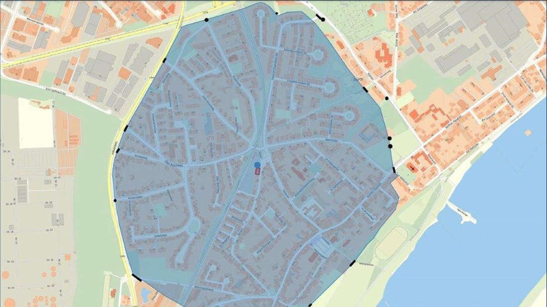 Die Karte zeigt den Bereich, der vom Ordnungsamt und dem Kampfmittelräumdienst in Sürth abgesperrt wird.