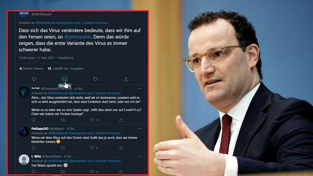 Eine Aeußerung von Jens Spahn sorgte für kritische Reaktionen auf Twitter. Auf dem Bild ist der Chatverlauf von Twitter sowie Jens Spahn zu sehen.