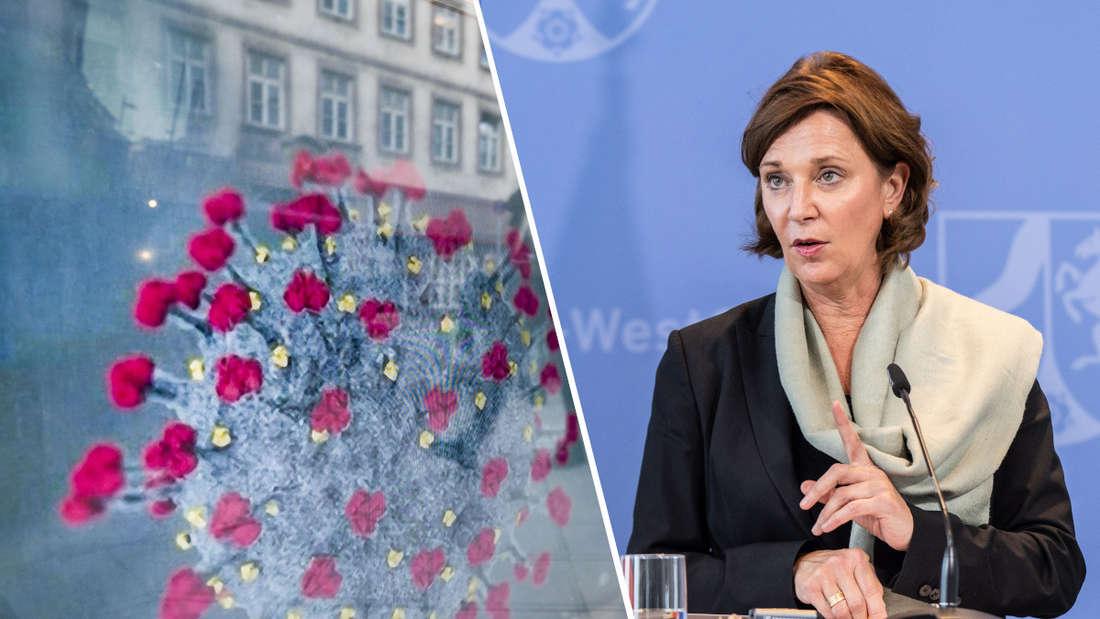 NRW-Schulministerin Yvonne Gebauer (FDP) äußert sich am Rednerpult zu den Öffnungen von Kitas und Schulen während der Coronavirus-Pandemie.
