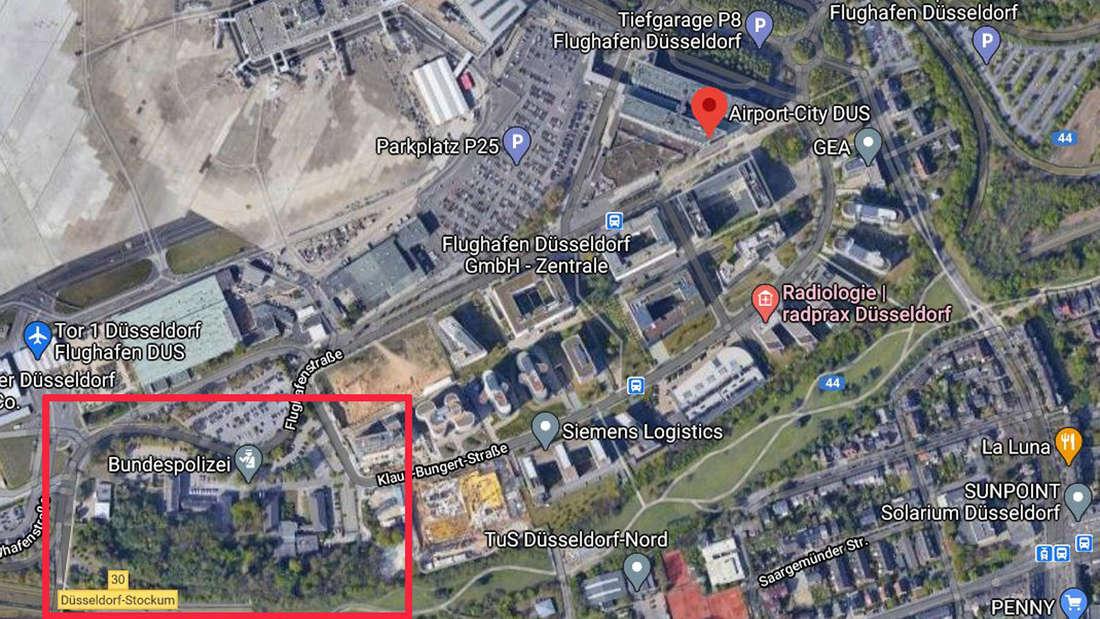 Screenshot Google Maps Düsseldorf Airport City