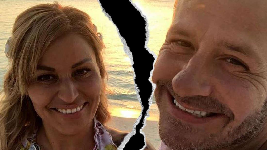 Jasmin und Willi Herren an einem Strand. Das Pärchenfoto wird durch einen Trennungsriss durchzogen