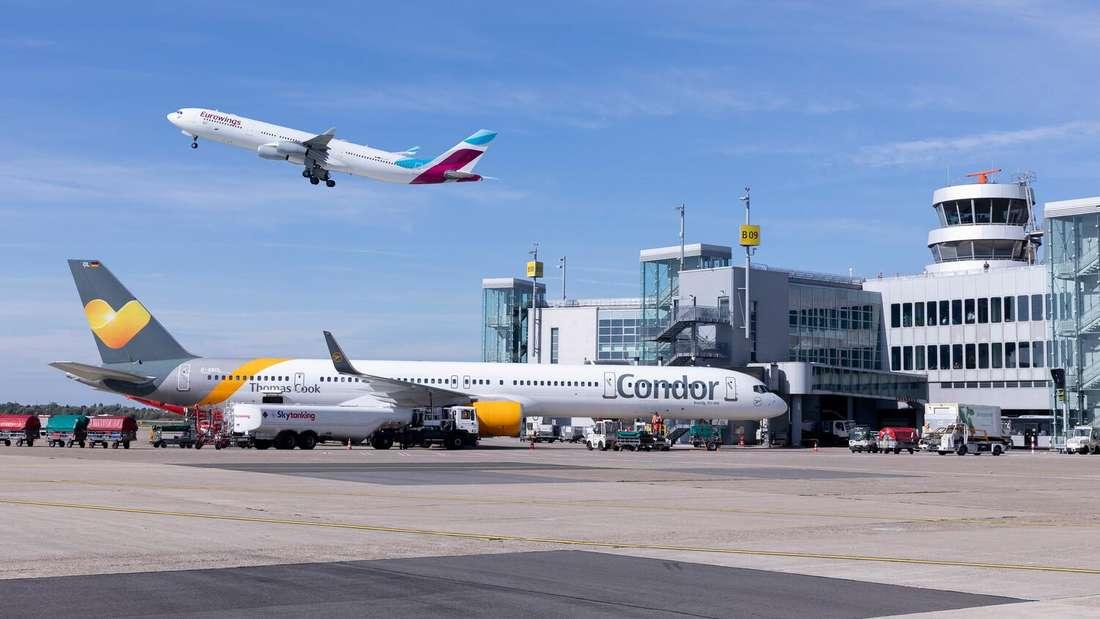 Flugzeuge von Condor und Eurowings am Flughafen Düsseldorf