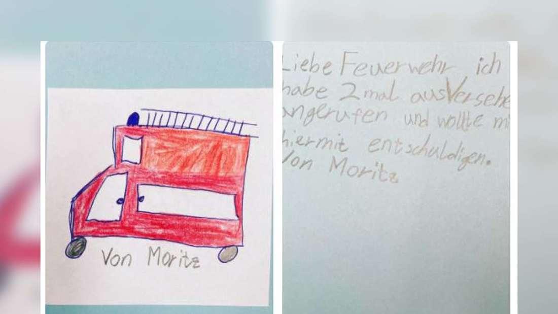 Ein Bild mit einer gemalten Feuerwehr und ein paar Zeilen