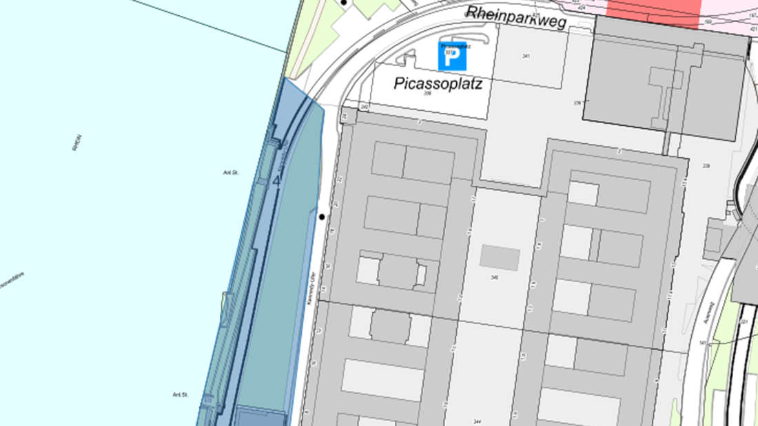 Die Karte zeigt, wo der Rheinboulevard auf der nördlichen Seite gesperrt ist.