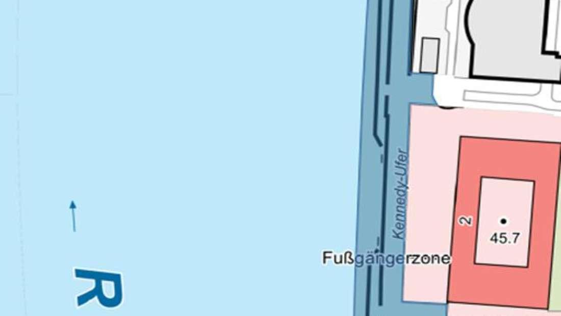 Die Karte zeigt, wo der Rheinboulevard auf der südlichen Seite gesperrt ist.