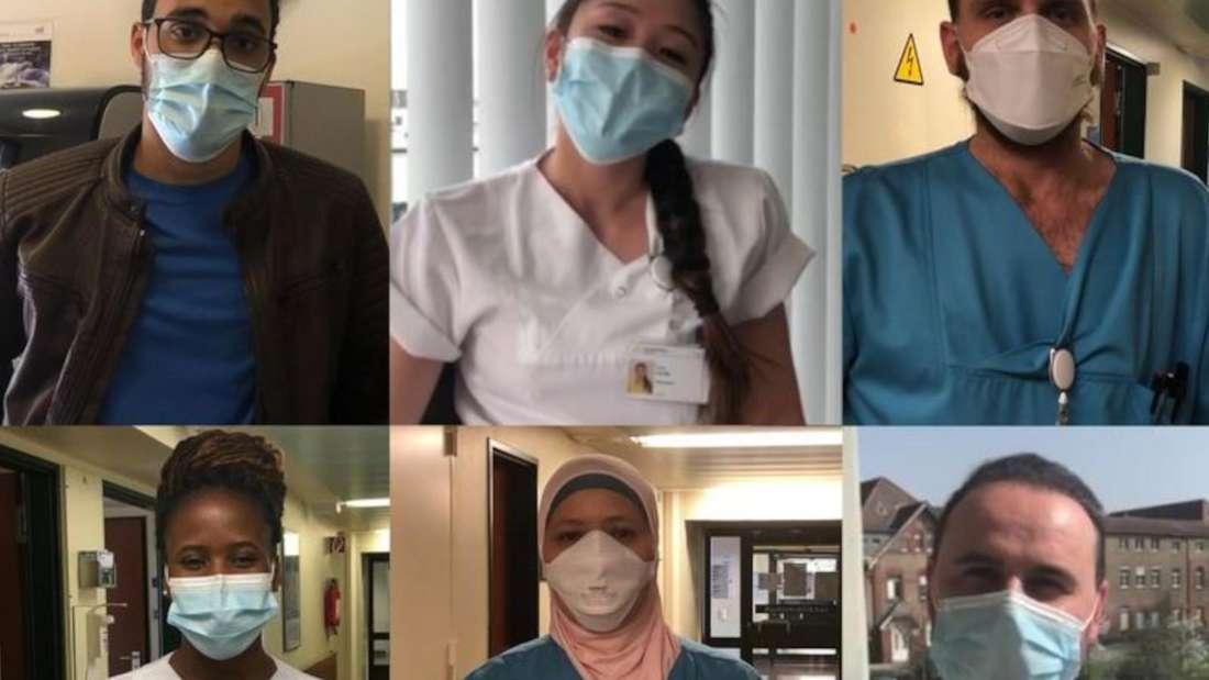 Im Video bitten 16 Pflegekräfte in ihrer jeweiligen Muttersprache darum, die Corona-Regeln einzuhalten.