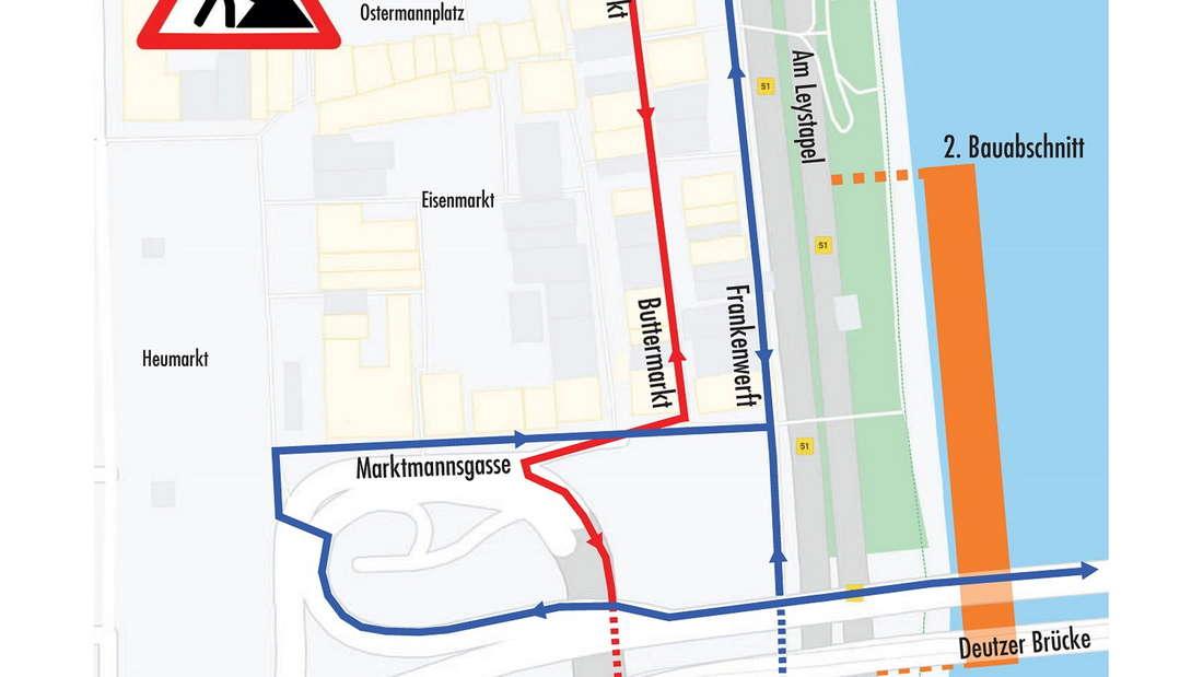 Die Grafik der Stadt zeigt den zweiten Bauabschnitt des Neubaus Kragplatte am Altstadtufer in Köln.