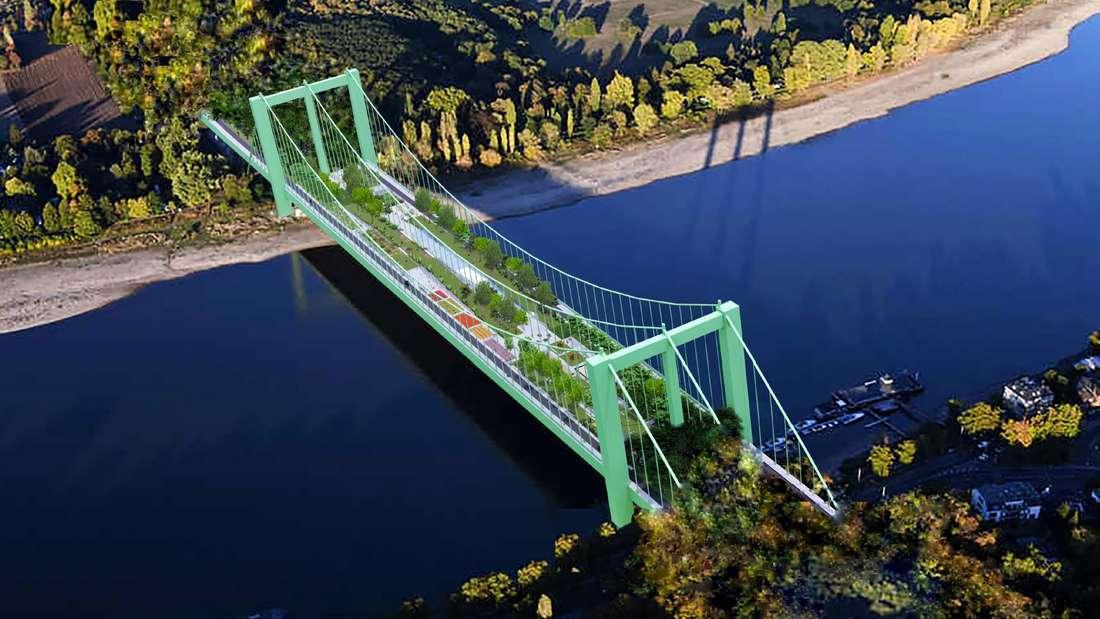 Das Bauprojekt der CDU. Die Rodenkirchener Brücke als Ausflugsziel mit Grünflächen, Rad- und Fußgängerwege, Sitzgelegenheiten und Cafés.
