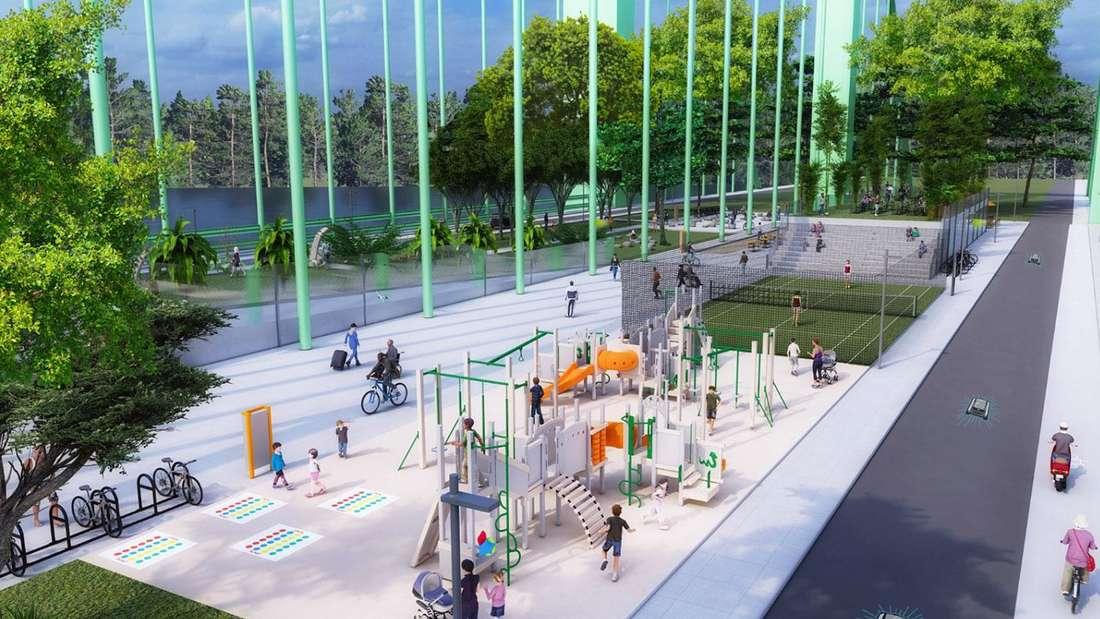 Das Bauprojekt der CDU. Die Rodenkirchener Brücke als Ausflugsziel mit Grünflächen, Rad- und Fußgängerwege, Sitzgelegenheiten und Cafés