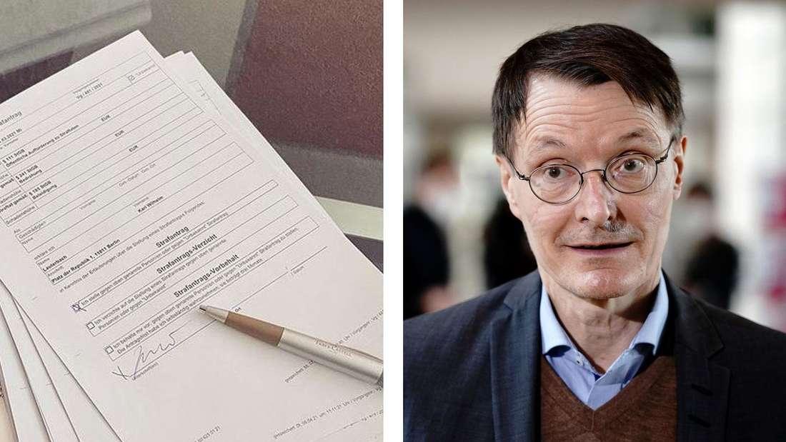 Links: Ein Papierstapel auf einem Glastisch. Rechts: Karl Lauterbach spricht in ein Mikrofon der ARD.