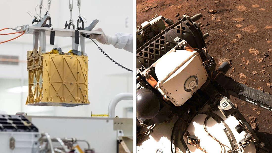"""Eine Bildmontage zeigt links ein Messinstrument und rechts den Rover """"Perseverance""""."""
