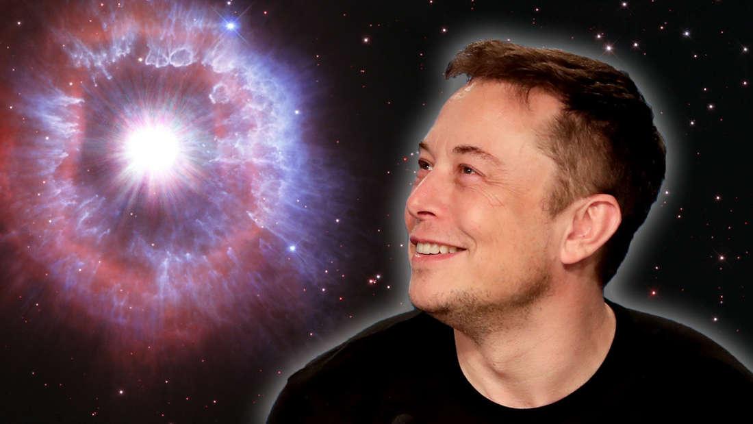 Elon Musk schaut zu einem Schwarzen Loch
