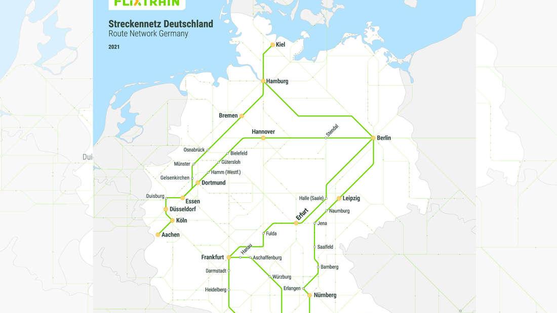 Eine Deutschlandkarte mit allen Haltestellen der einzelnen FlixTrain-Verbindungen.