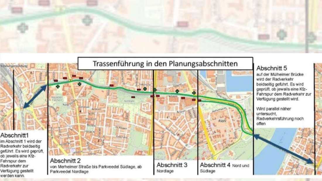 Die Stadtkarte von Köln auf der die geplante Trasse eingezeichnet ist