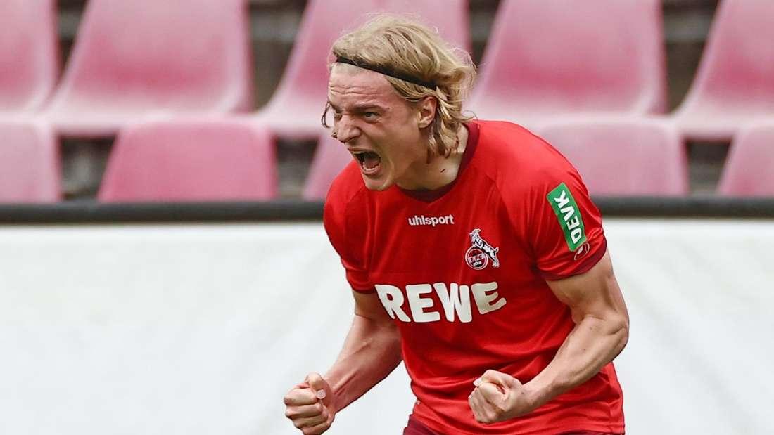 Kölns Sebastiaan Bornauw jubelt nach dem Tor zum 1:0.