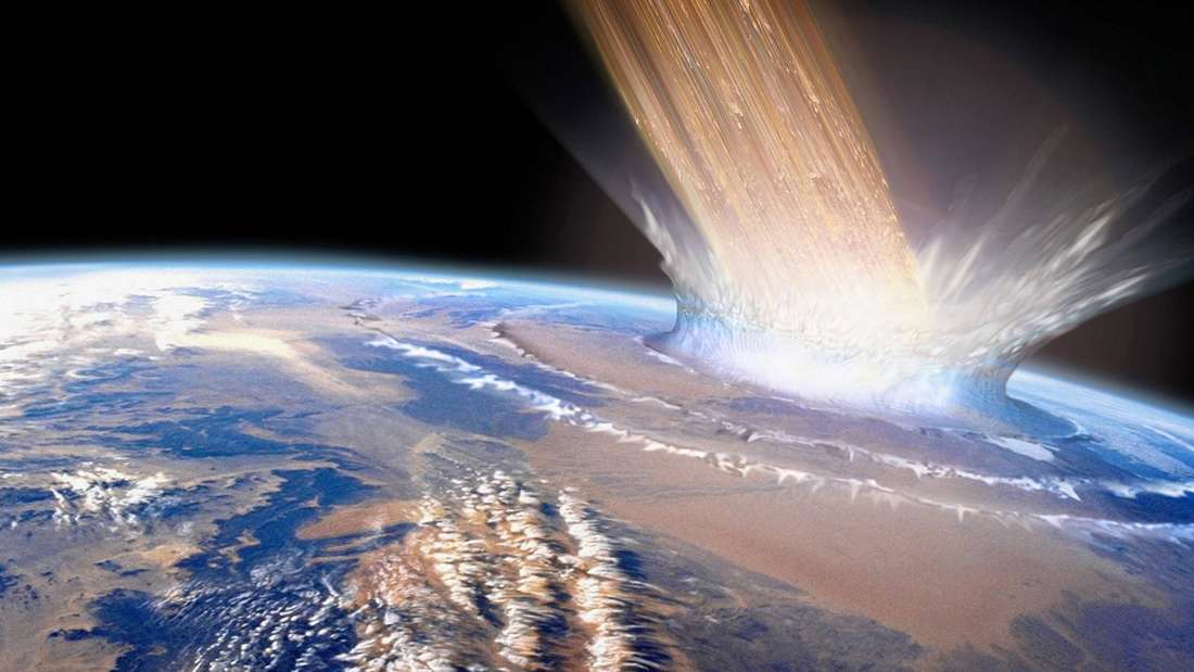 Ein Asteroid trifft die Erde.