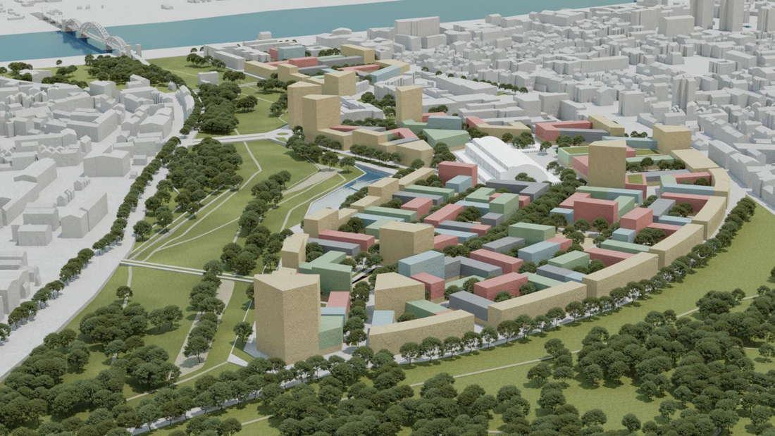 3D-Modell des Kölner Großprojekts Parkstadt Süd.