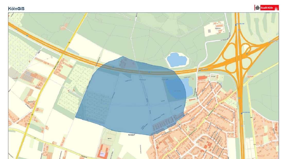 Die Grafik zeigt den Evakuierungsradius in Köln-Rondorf nach dem Fund mehrerer Fliegerbomben.