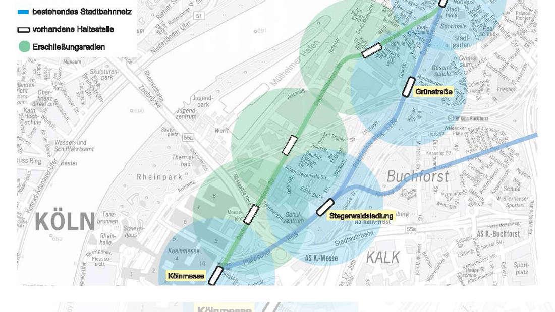 Der Stadtplan von Köln mit den geplanten und den bereits vorhandenen KVB-Haltestellen.