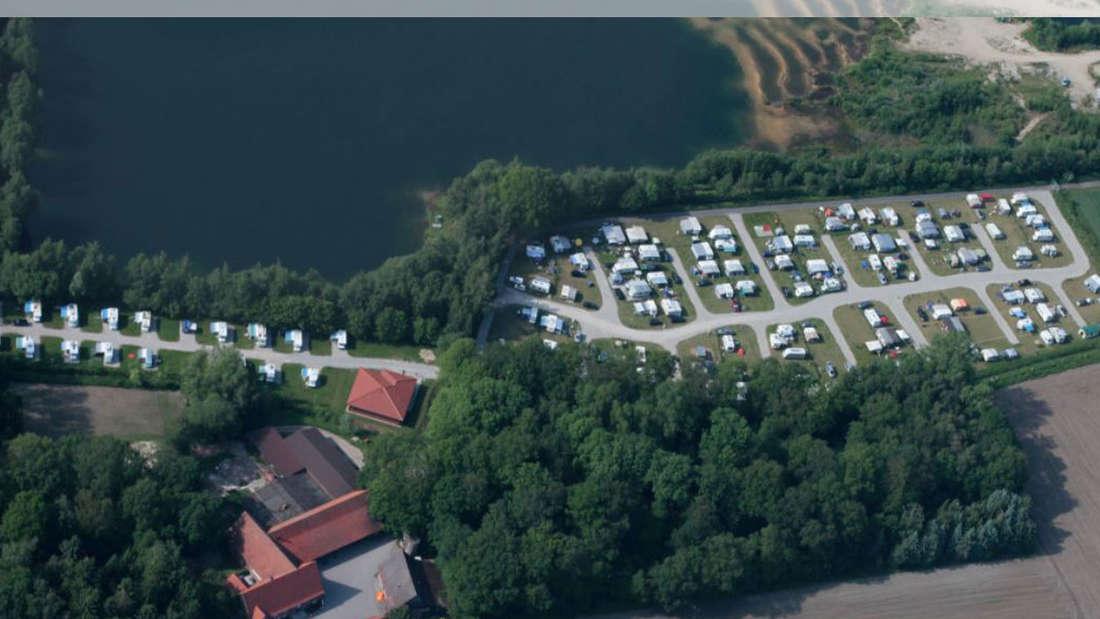 Eine Luftaufnahme des Campingparadies Lippstädter Seenplatte