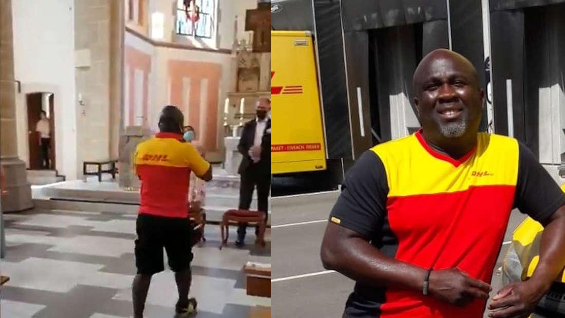 Ein DHL-Paketbote läuft in einer Kirche und steht neben seinem Lieferwagen.