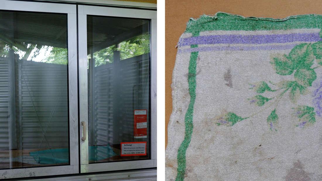 Das Moses Baby Fenster und das Tuch, in dem der Säugling lag.