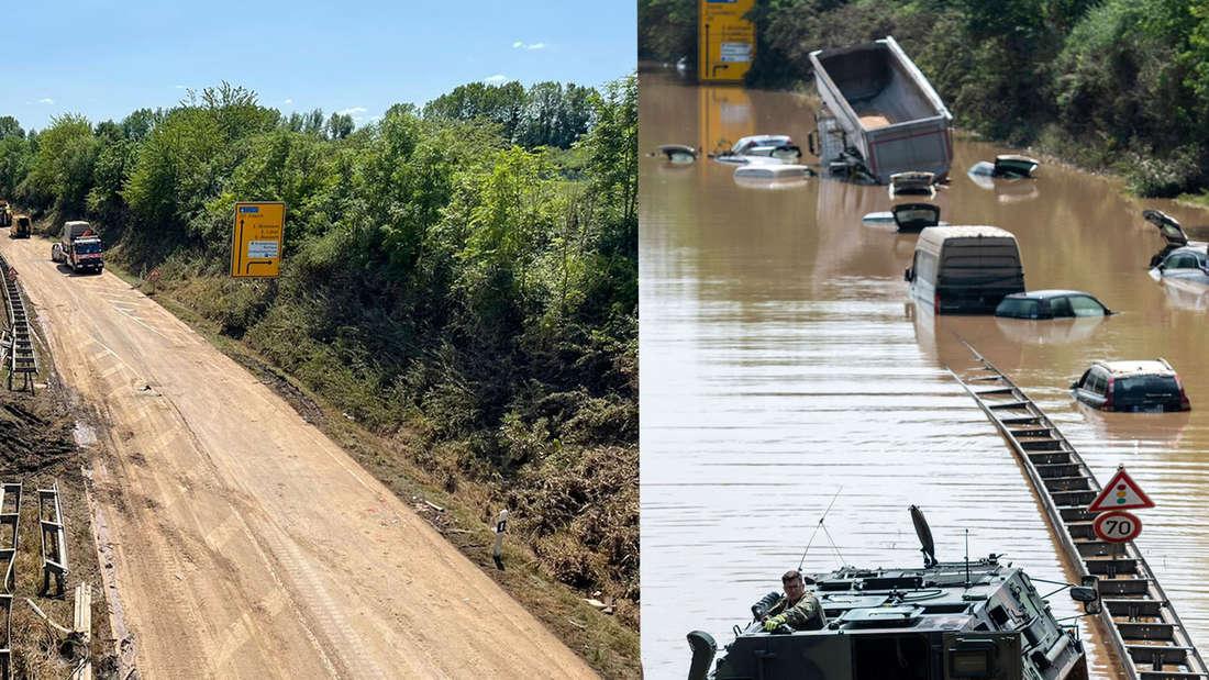 Die überflutete B265 bei Erftstadt während der Überflutung und nach der Räumung.
