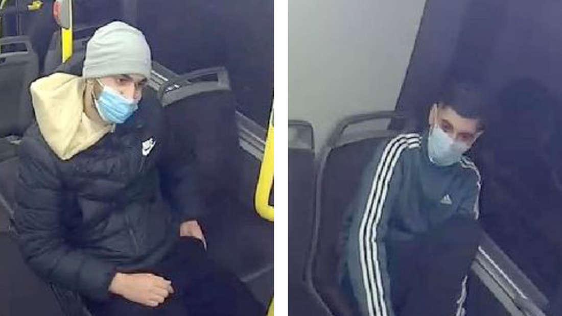 Die Fahndungsbilder zu zwei Tatverdächtigen eines Raubüberfalls in Bonn.