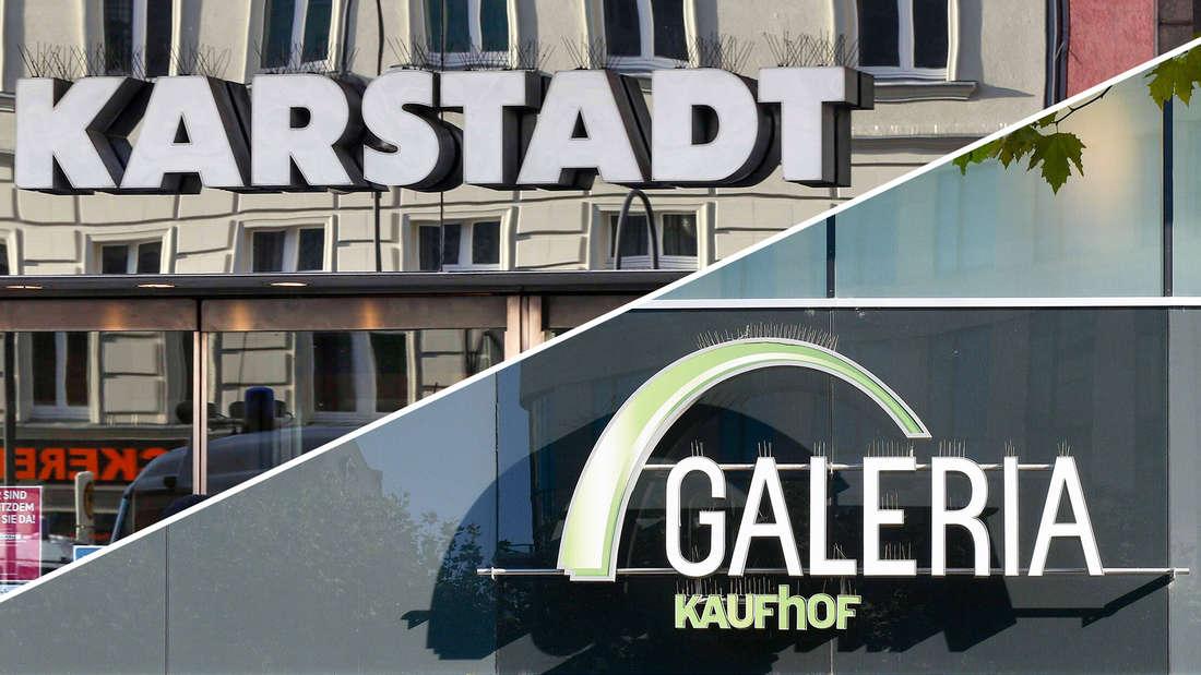 Die Logos der beiden Kaufhäuser Karstadt und Galeria in einer Grafik gegenübergestellt