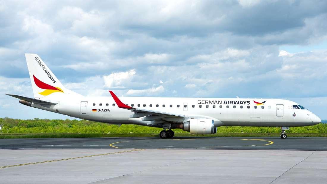 Ein Jet des Typs Embraer 190 der Airline German Airways.