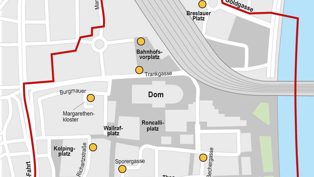 Karte über feste Rückgabeorte für E-Scooter in Köln.