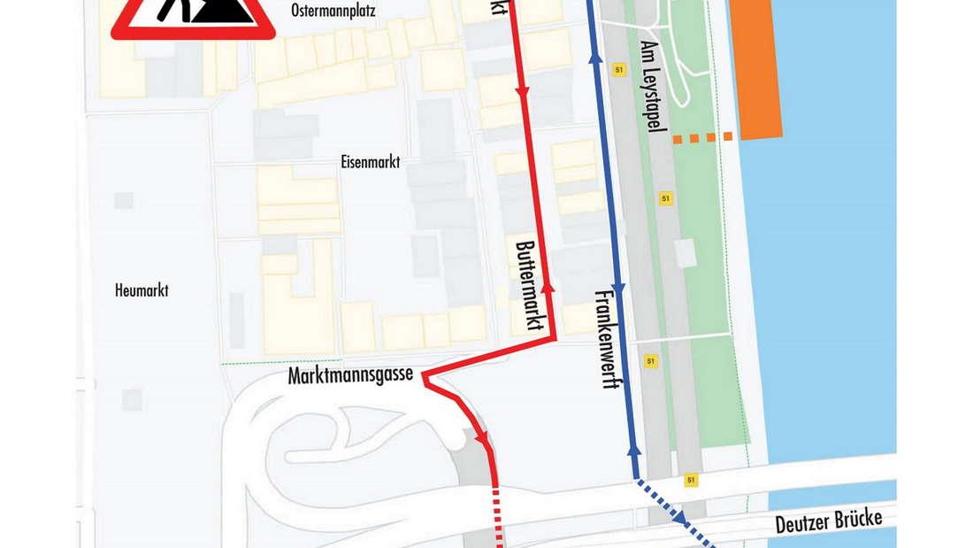 Die Grafik der Stadt zeigt den ersten Bauabschnitt des Neubaus Kragplatte am Altstadtufer in Köln.