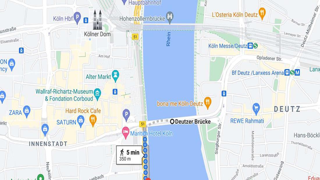 Grafik: Rheinpromenade zwischen Deutzer Brücke und Malakoffturm in Köln.