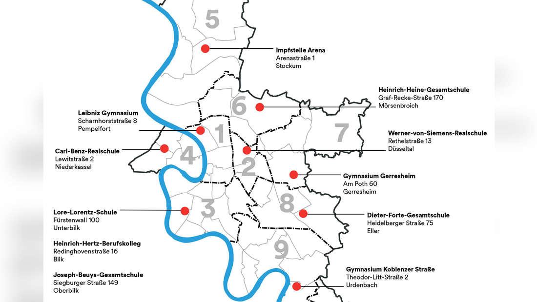 Eine Karte mit allen Schulen, die Corona-Impfungen für Jugendliche anbieten.