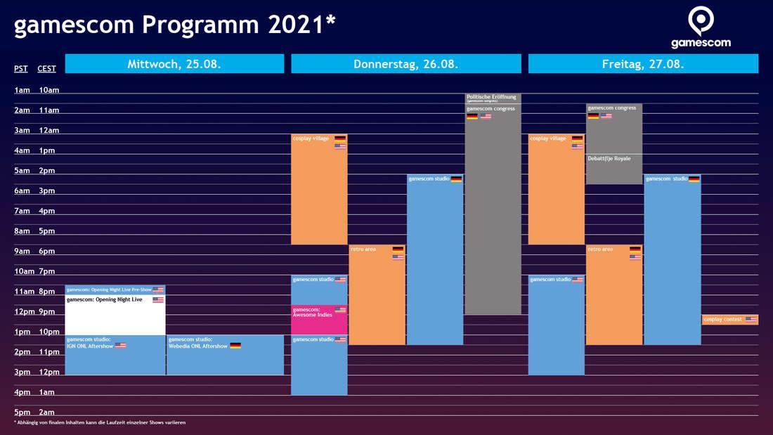 Der Ablaufplan der Gamescom 2021.