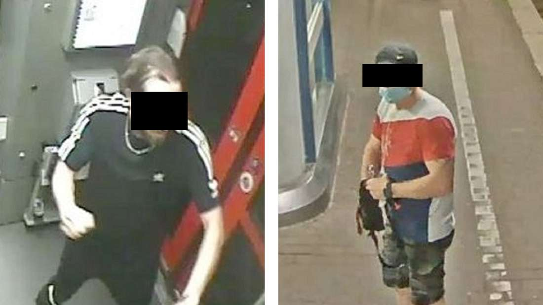 Zwei von der Polizei NRW gesuchte Tatverdächtige. Sie sollen in Köln einen Mann in der Bahn ausgeraubt haben.