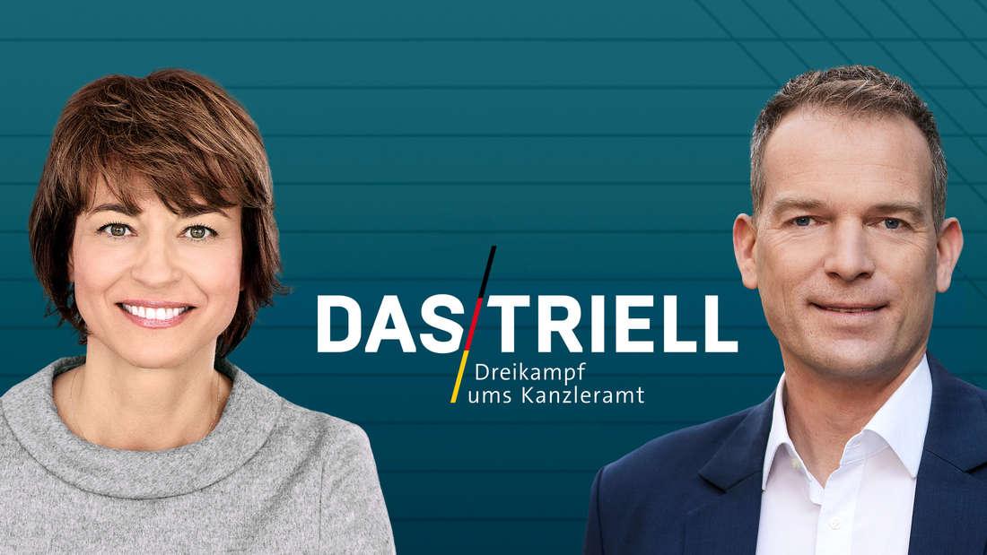 """Maybrit Illner und Oliver Köhr vor dem Logo zur Sendung """"Triell Dreikampf ums Kanzleramt"""""""