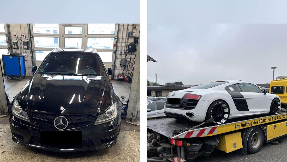 Links: ein schwarzer Mercedes AMG und rechts ein Audi R8 auf einem Abschleppwagen.