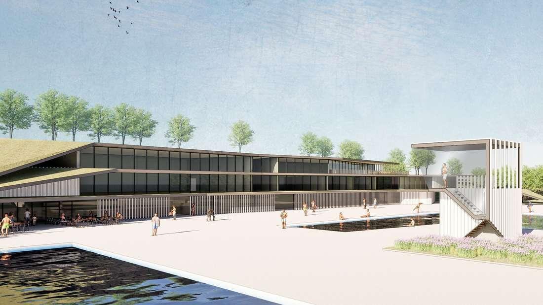 Konzeptbild zum neuen Funktionsgebäude des Melbbades in Bonn
