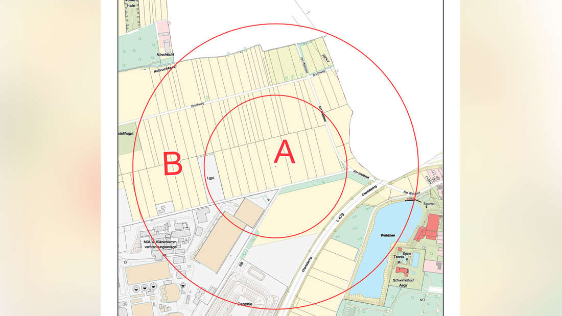 Die Evakuierungsbereiche für die Fliegerbombe, die am Mittwoch in Krefeld gefunden wurde.