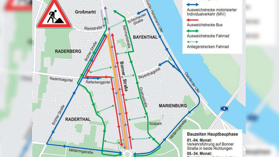 Eine Karte der Bonner Straße, auf der die Umleitung eingezeichnet ist.