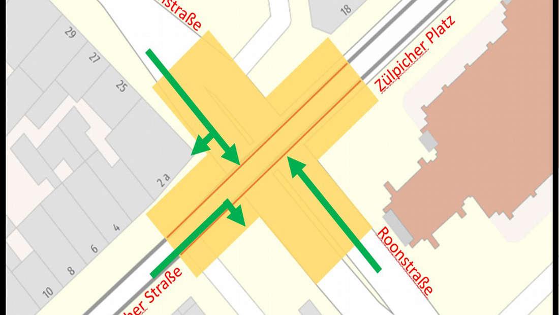 Abbildung der Stadt Köln zum geänderten Verkehrskonzept am Zülpicher Platz.