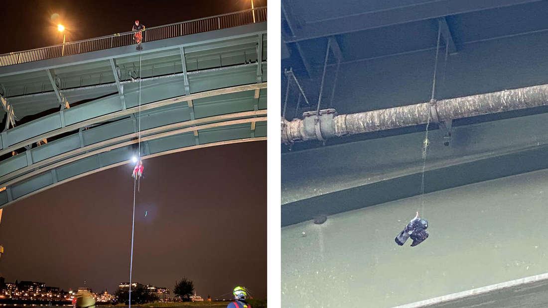 Die Höhenretterin Lisa rettet eine verhedderte Taube (l.) Die Taube hing in einer Angelschnur an der Südbrücke (r.)